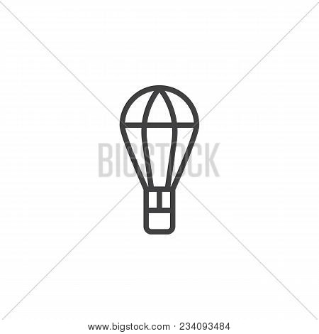 Parcel On Parachute Outline Icon. Linear Style Sign For Mobile Concept And Web Design. Air Drop Box