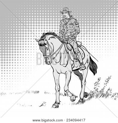 Cowboy On Horse. Horsemanship. The World Of The Wild West. Cowboy On Horse Ride Vintage Vector Poste