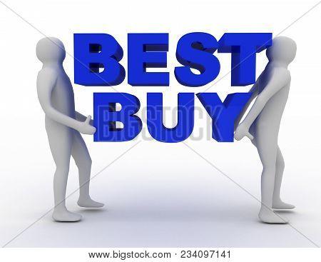 3d Man Carry Word Best Buy  . 3d Render Illustration