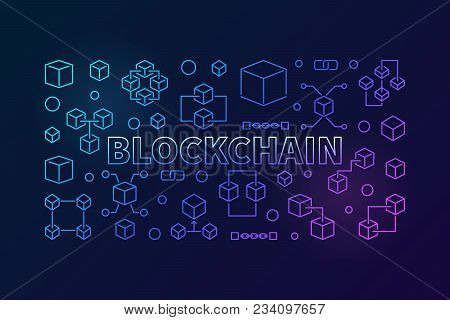 Blockchain Vector Colored Linear Illustration. Cryptocurrency And Block Chain Concept Horizontal Ban