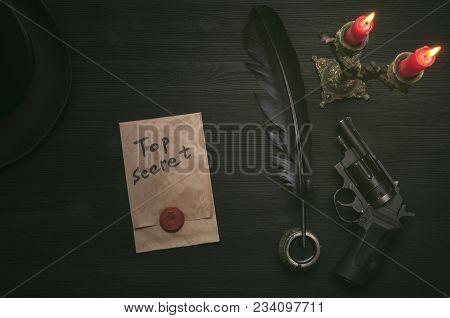 Top Secret Message Document. Forbidden Information. Detective Agent Desk Table Concept Background. S