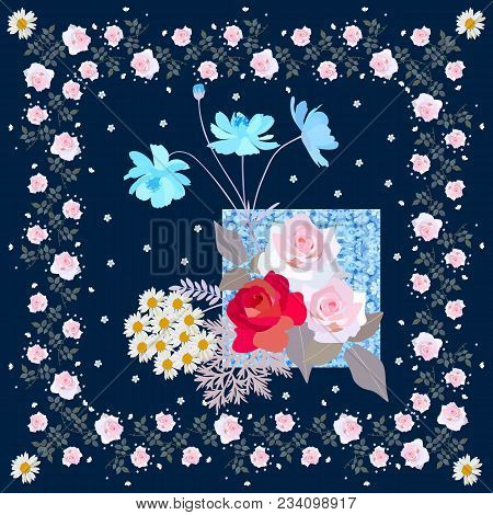 Greeting Card Or Pillowcase With Cute Flowers. Vector Template.
