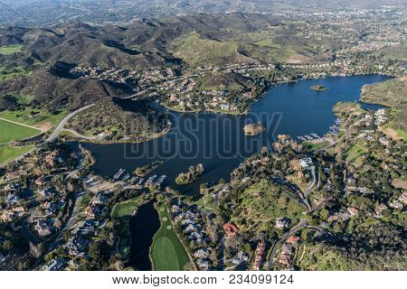 Aerial view of scenic Lake Sherwood and Thousand Oaks in Ventura County, California.
