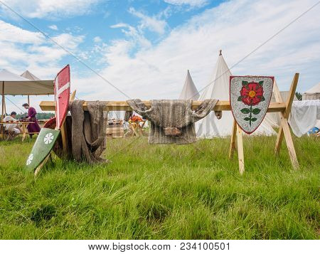 Ritter Weg, Russia, Morozovo, April 2017: Outdoor Scene Of Medieval Way Of Life. Vintage Protective