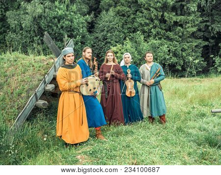 Ritter Weg, Russia, Morozovo, April 2017: Medieval Musicians Outdoor Play Music Instruments Medieval