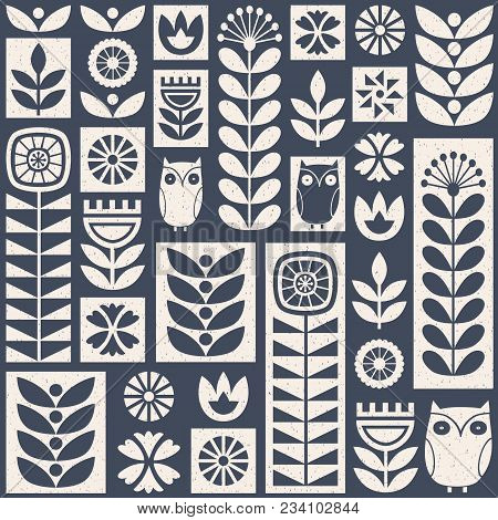 Scandinavian Folk Art Seamless Vector Pattern With White And Blue Flowers, Plants And Owls On Worn O