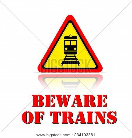 Yellow Warning Beware Of Trains Icon Background Vector Image