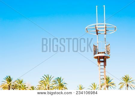 The Lifeguard Tower On The Beach. A Crow's Nest Sail Concept
