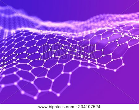Abstract From Hexagon Wire Surface Purple Background. Technology Concept. Noise Grid Structure.