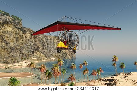 Computer Generated 3d Illustration With An Ultralight Trike Over A Coastal Landscape