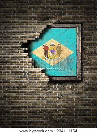 3d Rendering Of A Delaware State Flag Over A Rusty Metallic Plate Embedded On An Old Brick Wall