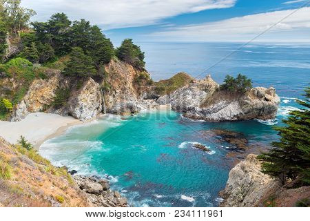 Beautiful California Beach And Falls, Julia Pfeiffer Beach, Mcway Falls, Big Sur, California