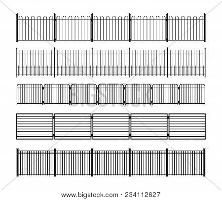 Set Of Different Simple Modular Metal Fence Silhouettes. Vertically Seamless Metal Fence Elements. B
