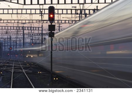 Moving Train And Red Signal