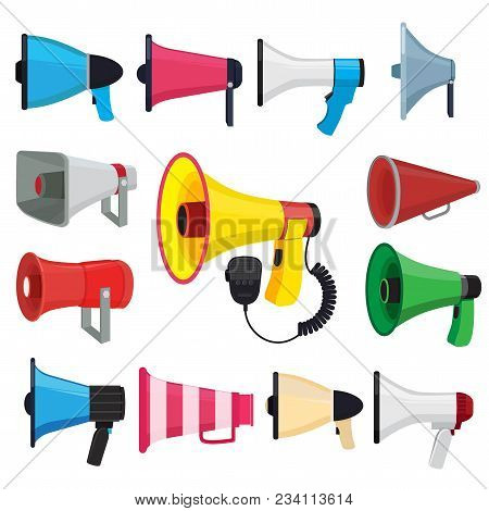 Symbols For Promotion And Announce. Vector Pictures Of Loud Speakers. Speaker And Megaphone, Loudspe