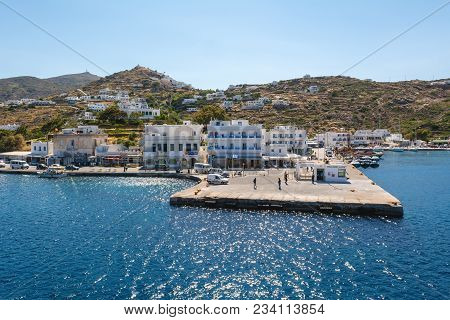 Ios, Greece. May 20, 2017: The Main Harbor Of Ios Island. Cyclades Group In The Aegean Sea. Greece.