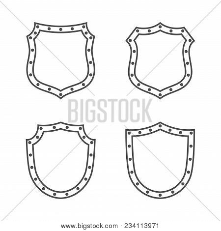 Shield Shape Icons Set. Black Silhouette Signs Isolated On White. Symbol Protection, Arms, Coat Hono