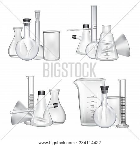 Vector Piles Of Chemical Laboratory Glass Tubes Set. Glass Tube And Laboratory Experiment Illustrati