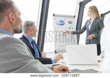 Business presentation of statistics, business woman pointing at flipchart, team of people at meeting table watching