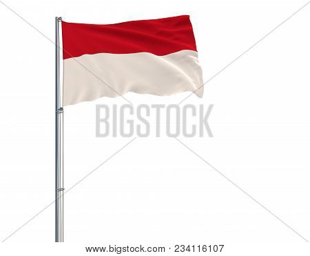 Isolate Flag Of Monaco On A Flagpole Fluttering In The Wind On A White Background, 3d Rendering
