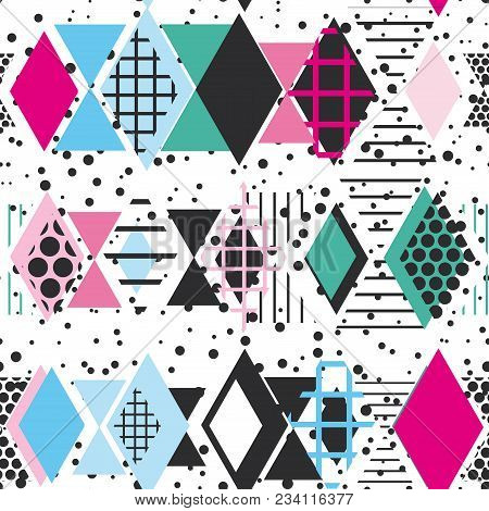 Geometric Elements Memphis Postmodern Retro Fashion Style 80-90s. Texture Asymmetrical Shapes Rhombu