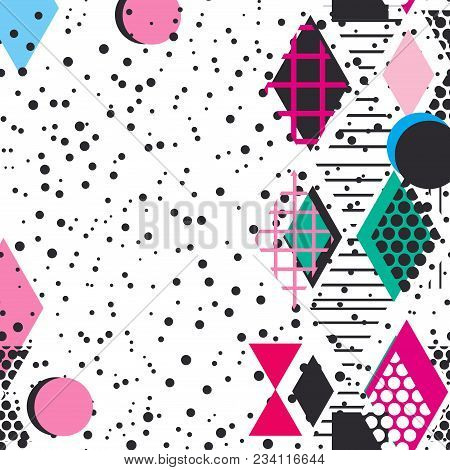 Card banner template frame for your text. Geometric Memphis Postmodern Retro fashion style 80-90s. asymmetrical shapes. pink black blue green background. Vector illustration poster