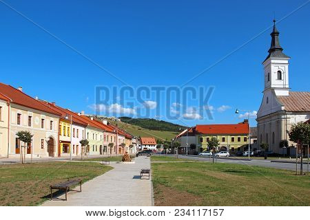 Central Street Of Spisske Podhradie Town And Spis Castle (spissky Hrad) On The Hill, Slovakia