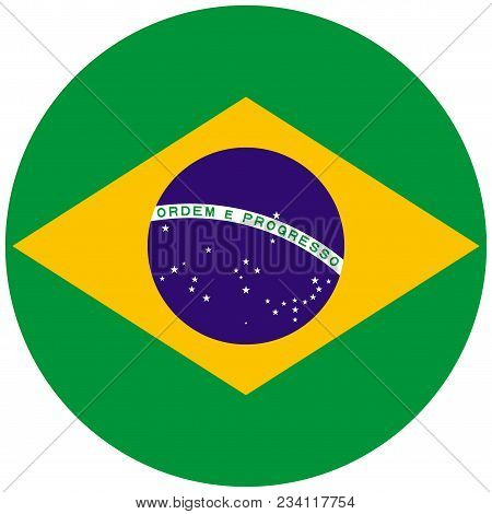 Brazil Flag With Official Colors. Round Brazil Flag Icon Vector Illustration.