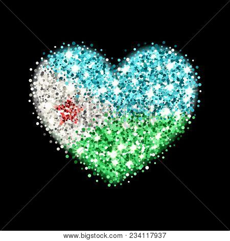 Republic Of Djibouti Flag Sparkling Badge In Heart Shape. Icon With Djiboutian National Colors With