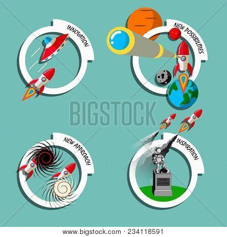 Rocket Business Flat Art Style Vector Set. Stock Illustration Of Innovation, New Approach, Inspirati