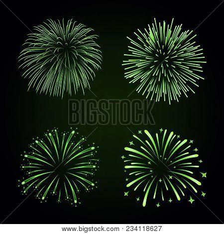 Beautiful Green Fireworks Set. Bright Fireworks Isolated Black Background. Light Green Decoration Fi