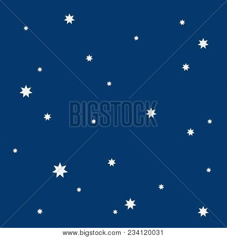 Beautiful Simple White Stars Or Snowflakes In The Blue Night Sky Seamless Pattern