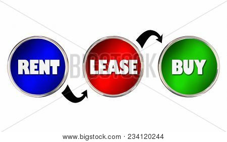 Rent Lease Buy Purchase Options Stages Choices 3d Illustration