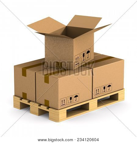 wooden pallet with cargo box on white background. Isolated 3D illustration