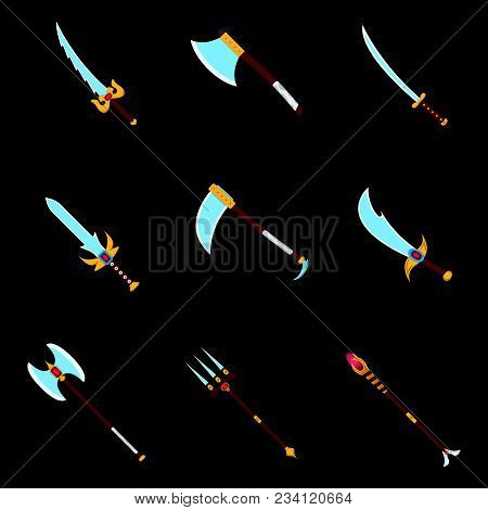 Set Of Weapon Icon. Label Of Fantasy And Medieval Weapon. Cartoon Style. Vector Illustration Logo
