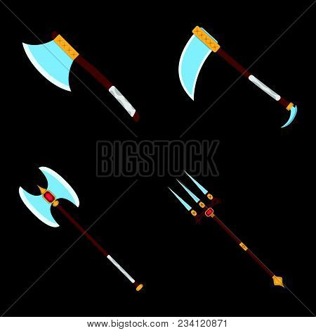 Set Of Weapon Icon. Label Of Fantasy And Medieval Weapon. Cartoon Style. Vector Illustration Logo.