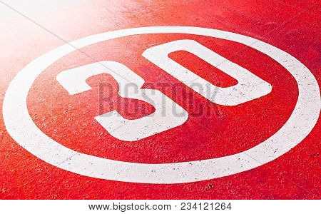 Red Road Speed Limit 30 Applied To Asphalt