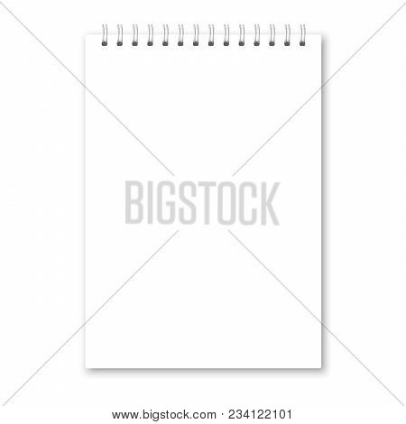 Vector Realistic Opened Notebook Cover. Vertical White Metallic White Spiral Bound Blank Notebook, C