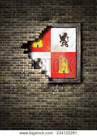 3d Rendering Of A Castilla Leon Spanish Community Flag Over A Rusty Metallic Plate Embedded On An Ol