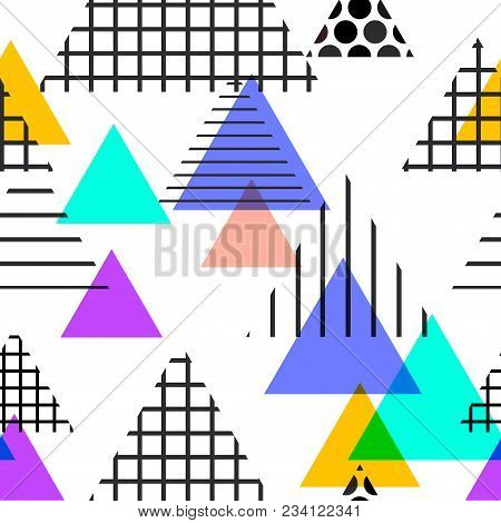 Seamless pattern Geometric elements Memphis Postmodern Retro fashion style 80-90s. texture shapes triangle Yellow black violet orange lilac for site fabric isolated on white background. Vector illustration poster
