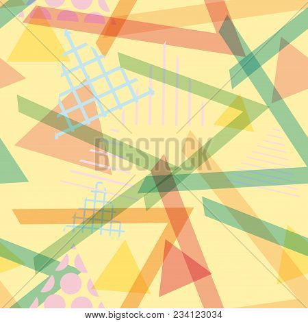 Seamless pattern Geometric elements Memphis Postmodern Retro fashion style 80-90s. texture shapes triangle blue lilac orange green for site fabric on yellow background. Vector illustration poster
