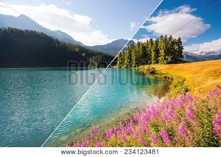 Breathtaking lake Champfer is a unique place. Location Silvaplana village, Swiss alps, Maloja, Europe. Beauty of earth. Images before and after. Original or retouch, example of photo editing process.