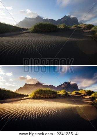 Beautiful view of yellow hills. Location place Stokksnes cape, Vestrahorn (Batman Mountain), Iceland, Europe. Images before and after. Original or retouch, example of photo editing. Beauty of earth.