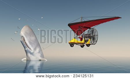 Computer Generated 3d Illustration With Ultralight Trike And Sperm Whale Surrounded By Seagulls