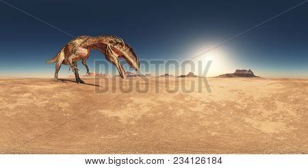 Computer Generated 3d Illustration With A Spherical 360 Degrees Seamless Panorama Of The Dinosaur Ac