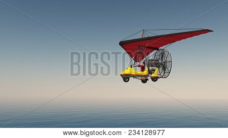 Computer Generated 3d Illustration With An Ultralight Trike Over The Sea