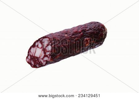 Smoked Sausage, Top View, Sliced, Isolated On White Background Close-up, Delicacy
