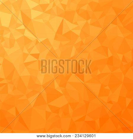 Orange Polygonal Background. Rumpled Triangular Pattern. Low Poly Texture. Abstract Mosaic Modern De