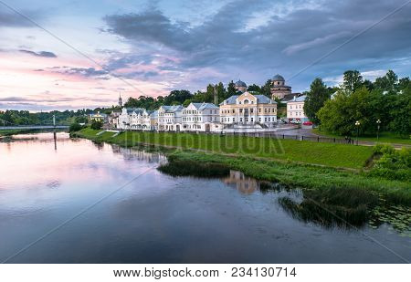 Dramatic Sunset Sky Over The Tvertsa River And Its Picturesque Shores After Storm. Russian Provincia