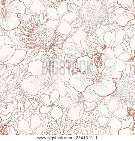 Tropical Flowers Seamless Pattern With White Hand Drawn Exotic Blooms Of Hibiscus, Protea, Magnolia